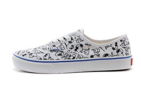 af9cb608e5 Vans Snoopy Shoes Custom Anime Loafer White Black