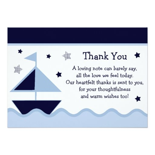 Nautical Sailboat Navy Baby Shower Thank You Card Zazzle Com Baby Shower Thank You Cards Navy Baby Showers Baby Shower Return Gifts