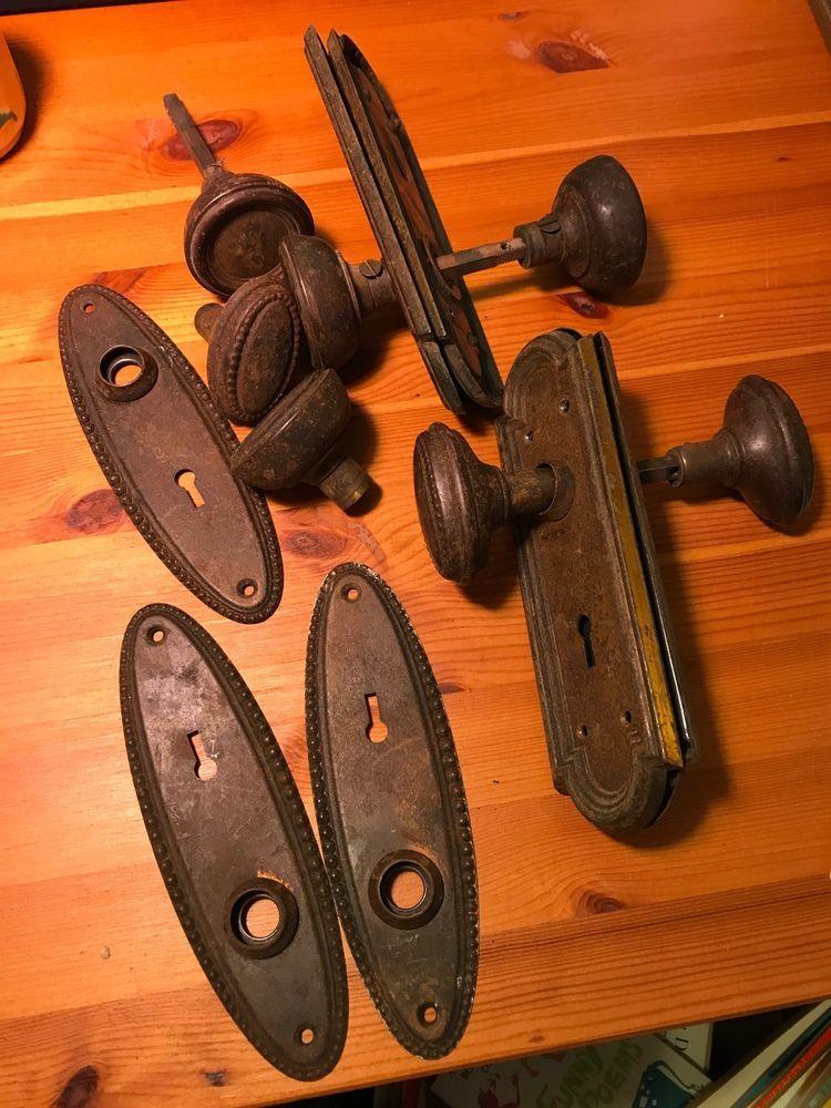 LOT OF Antique Vintage Metal Door Knob SetS Backplates Brass Salvage Grooved