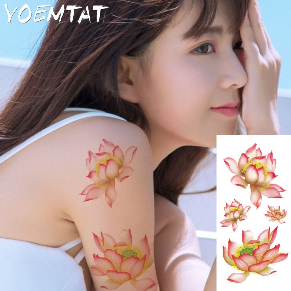 Lotus flower arm shoulder tattoo stickers flash henna tattoo fake