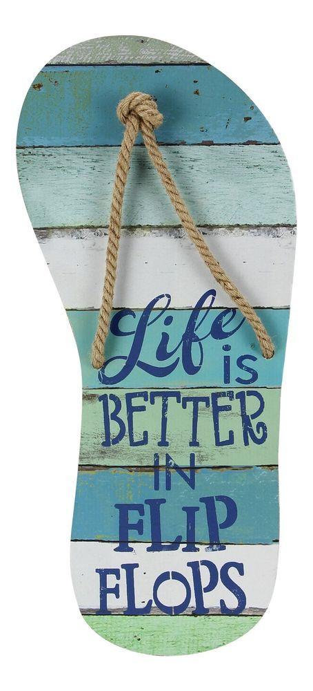 Wood Life Is Better In Flip Flops Slatted Wood 22 Inch Wall Decor