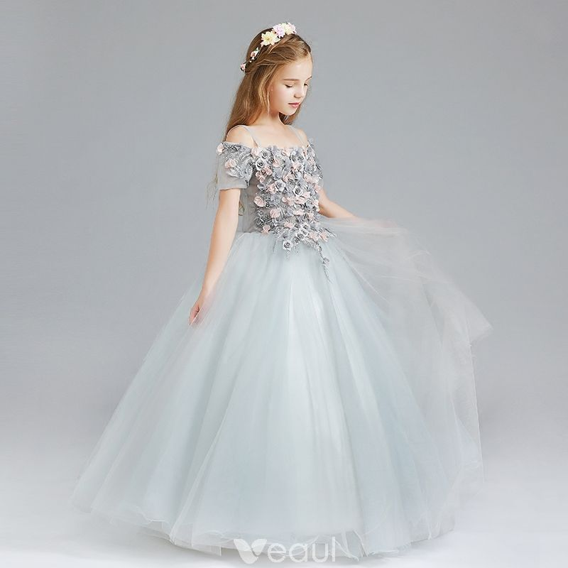 Chic / Beautiful Grey Flower Girl Dresses 2017 Ball Gown Off-The ...