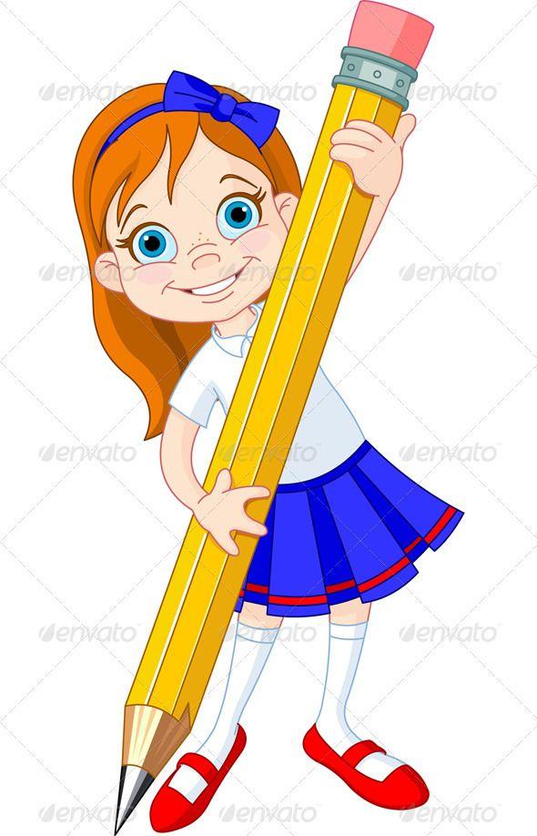 Girl Holding Pencil Cartoon Girl Drawing Boy Illustration School Painting