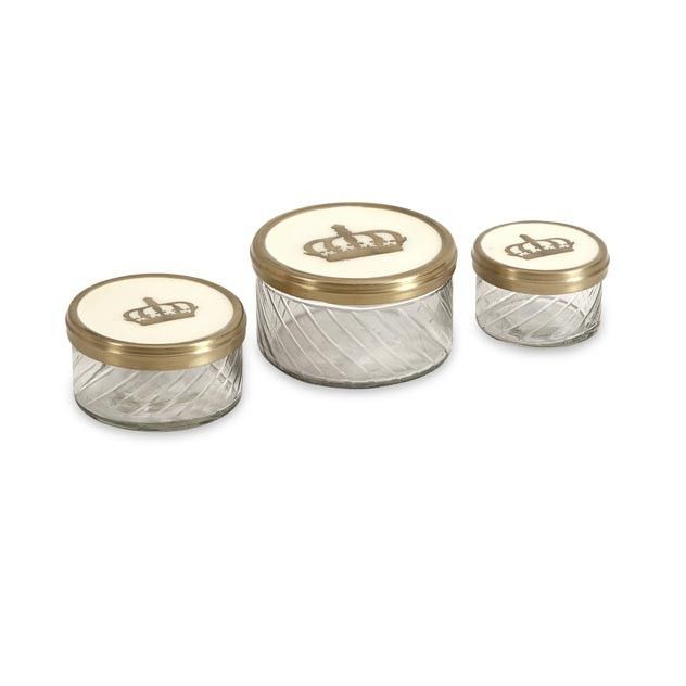 Crown Jars w/ Brass and Porcelain Lid