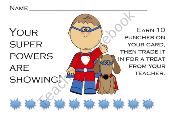 Positive Reward Punch Cards Product From From Polliwogs To Frogs