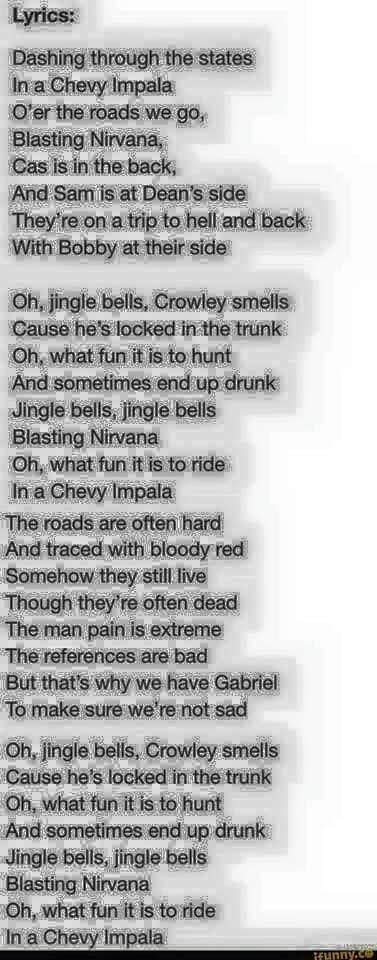 Supernatural Jingle Bells Lyrics Supernatural Memes