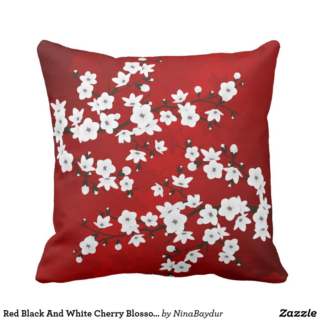 Red Black And White Cherry Blossoms Throw Pillow Zazzle Com White Cherry Blossom Throw Pillows Throw Pillows White