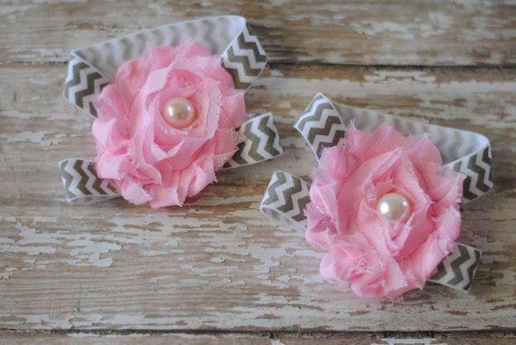 Baby Sandals - Shabby Chic - Pink and Gray Chevron