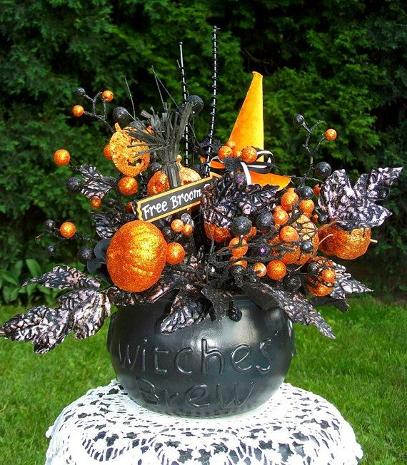 halloween floral arrangement halloween decor halloween centerpiece black and orange witch decor - Halloween Centerpiece