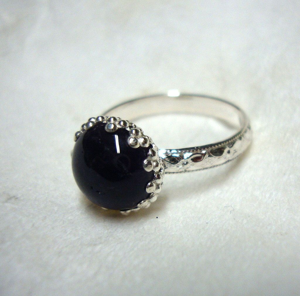 Black Onyx in fancy recycled sterling silver custom size handmade protection by ApacheMoon on Etsy https://www.etsy.com/listing/97635411/black-onyx-in-fancy-recycled-sterling
