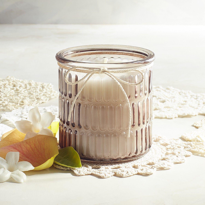 Vintage Linens Ribbed Filled Jar Candle