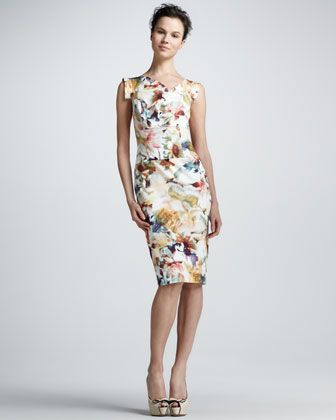 3d80a0fb Floral-Print Sheath Dress by Black Halo at Neiman Marcus. Jackie O ...