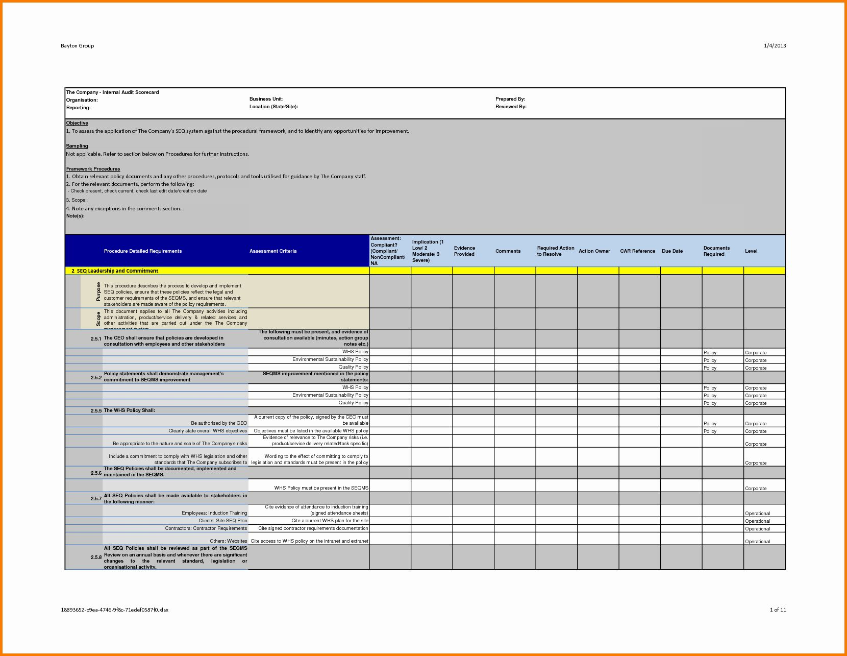 Internal audit forms template beautiful professional