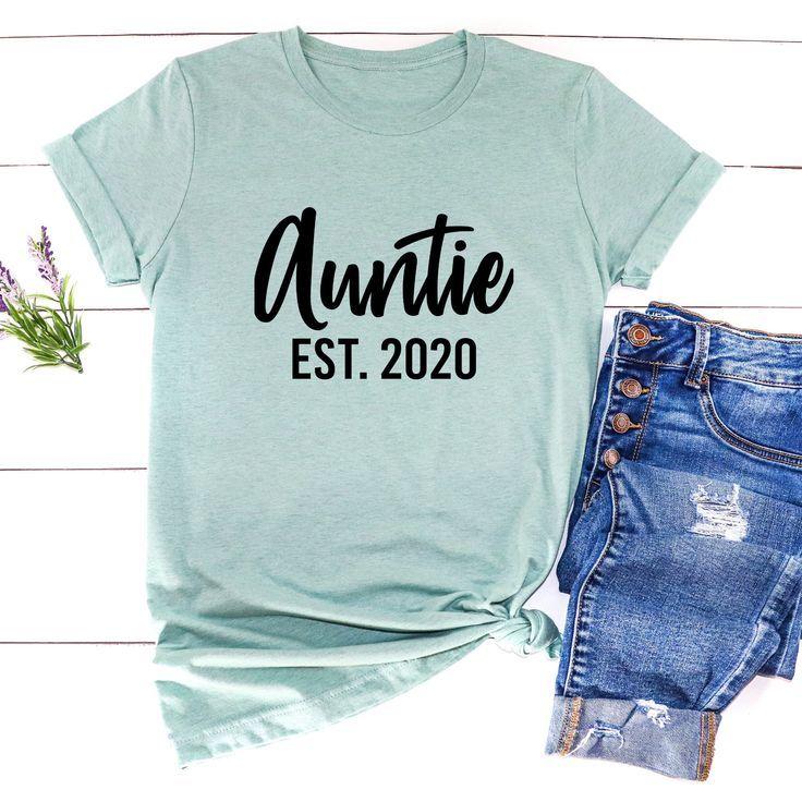 Auntie Est Shirt / Aunt Est Custom Year T-Shirt / New Aunt Shirt / Promoted To Auntie Shirt | Pregna