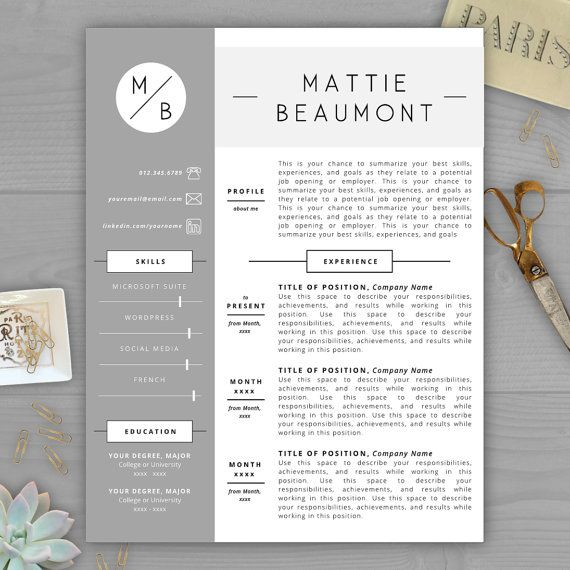 Monogram Resume Template CV Template By ResumeTemplateStudio