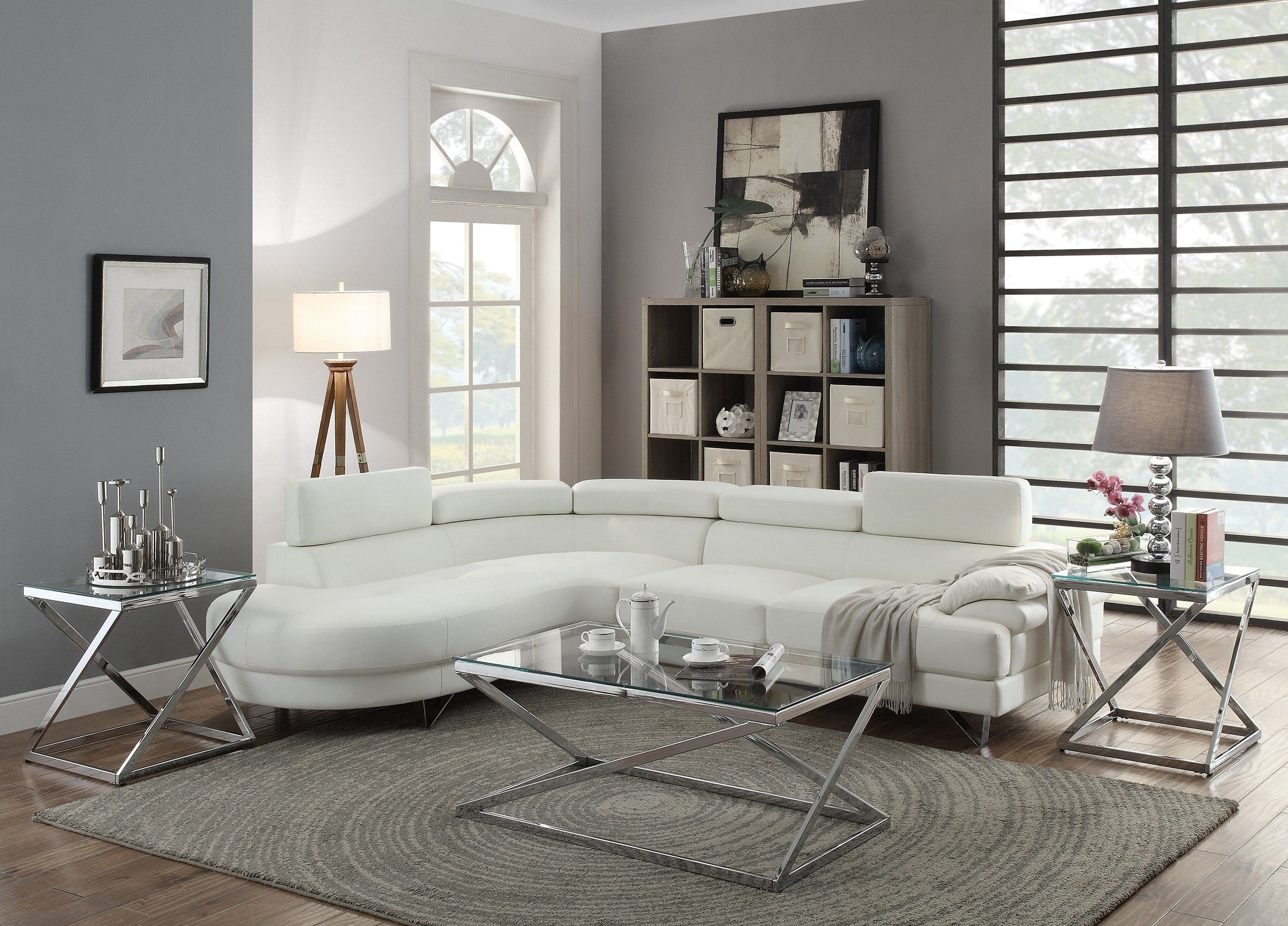 Infini Furnishings Normandy Sectional Upholstery White