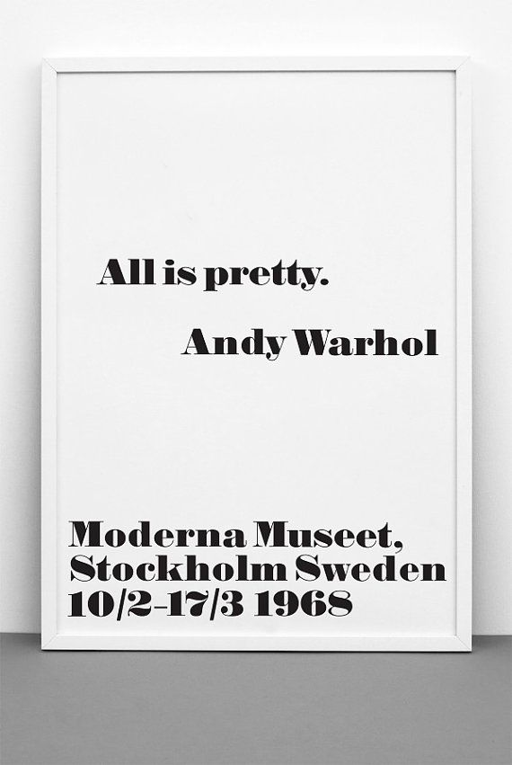 Andy Warhol Quote Print All Is Pretty Printable By Ilkadesign