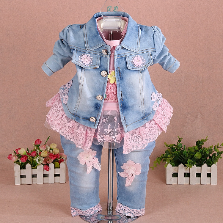 26.33$  Watch now - http://aliv0i.shopchina.info/1/go.php?t=32810758905 - Baby girl clothes new spring autumn newborn Girl denim three-piece set Flower Lace Girl Baby Set suits for infant girl 26.33$ #aliexpress