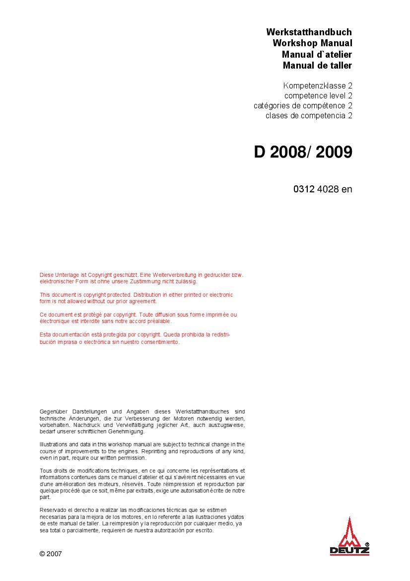 Deutz 2008 2009 03124028 Engine Workshop Repair Service