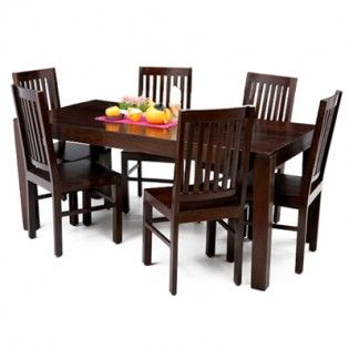 Narina 6 Seater Dining Table Set Mahogany Finish  Wooden Adorable Dining Room Sets Online Design Ideas