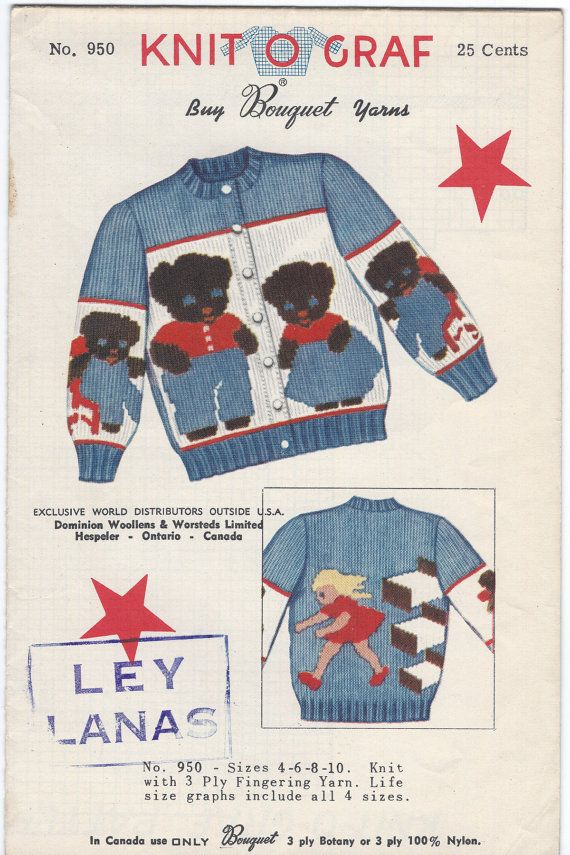 Knit O Graf Pattern 950 Bear Family Cardigan Swea… | Vintage Sewing ...