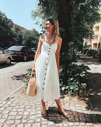 1304753fa Vestido com botões na frente: Moda verão 2019 | I want | Vestidos, Look com  vestido e Looks vestidos