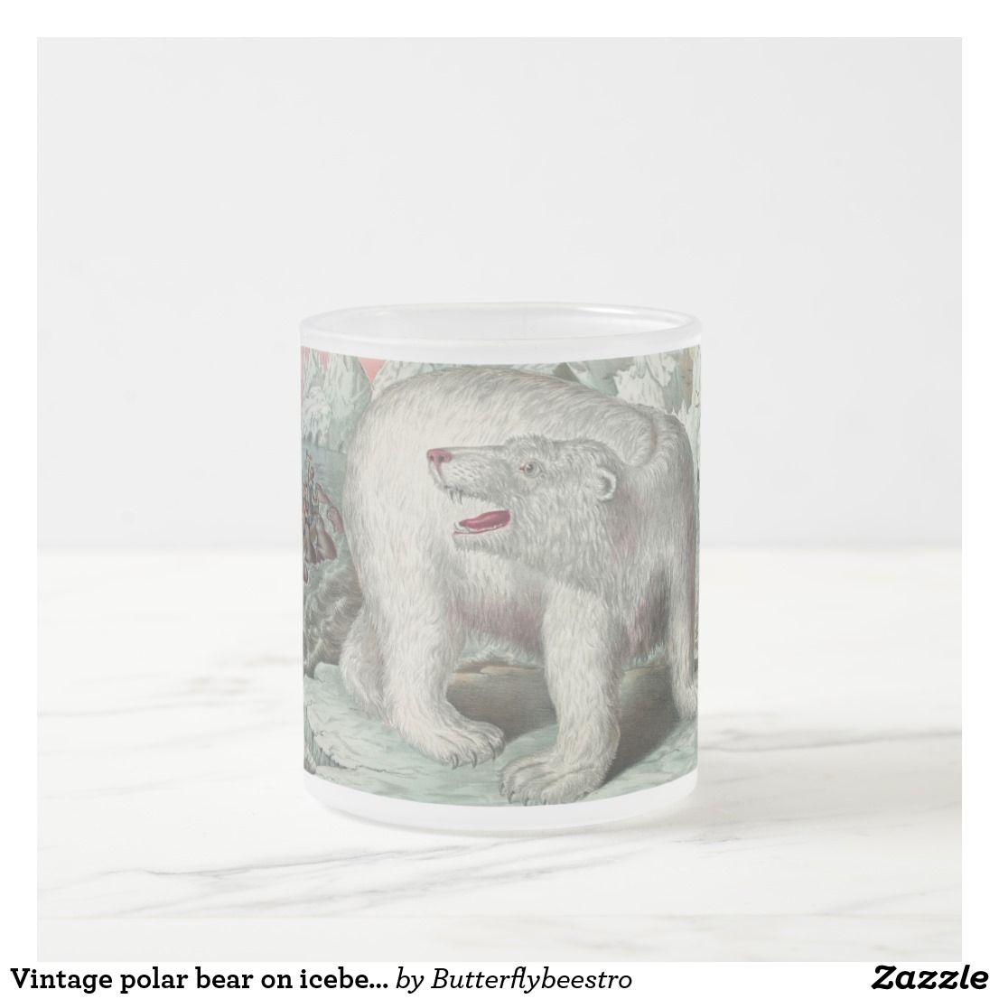 Vintage Polar Bear On Iceberg Mug Zazzle Com Vintage Painting Polar Bear Vintage [ 1106 x 1106 Pixel ]
