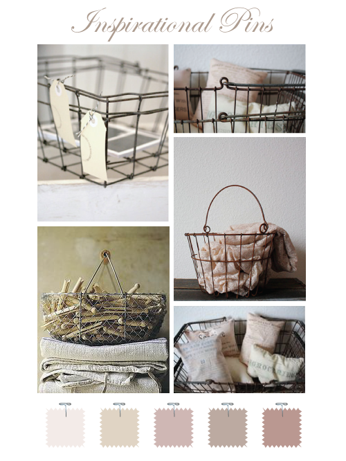 Laundry wire basket with clothespins over linens