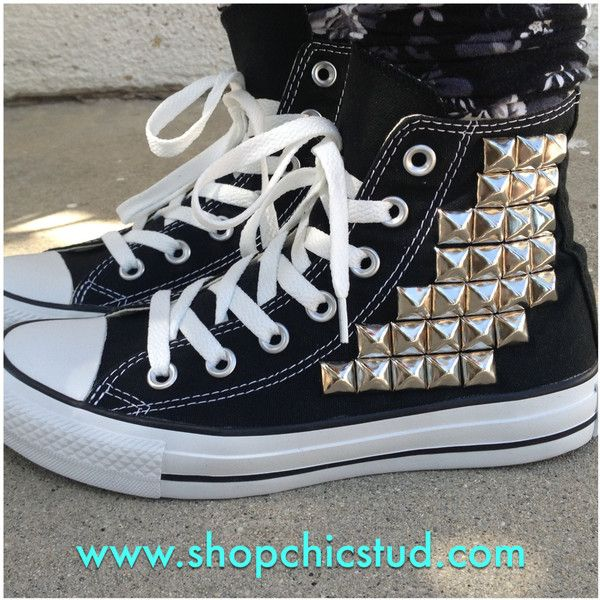 Studded Chuck Taylor ANY SIZE Converse All Stars Hi Top Black (115 CAD) ❤