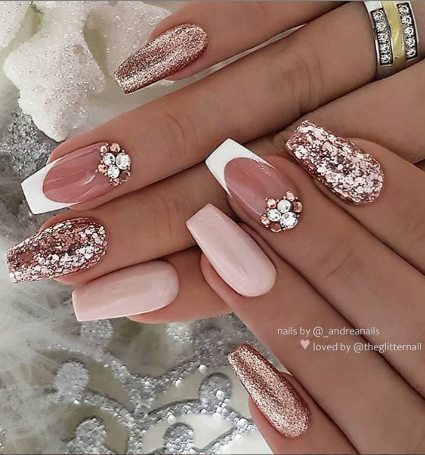 50 Pretty French Pink Ombre And Glitter On Long Acrylic Coffin Nails Design Page 37 Of 53 Latest Fashion Trends For Woman In 2020 Mauve Nails Coffin Nails Designs Nail Designs