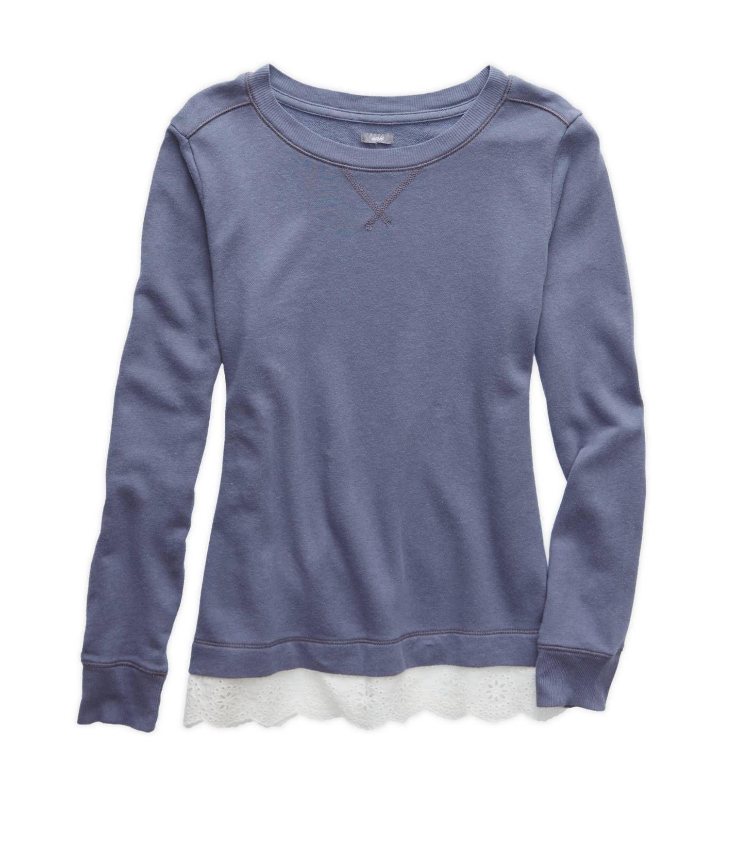 Aerie blue Eyelet Hem Sweatshirt. $34.95