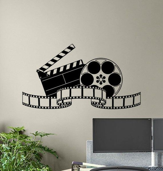 Cinema Wall Decal Movie Film Tape Poster Home Theater Action Sign Playroom Vinyl Sticker Print Gift Video Decor Film Strip Wall Art 8-89