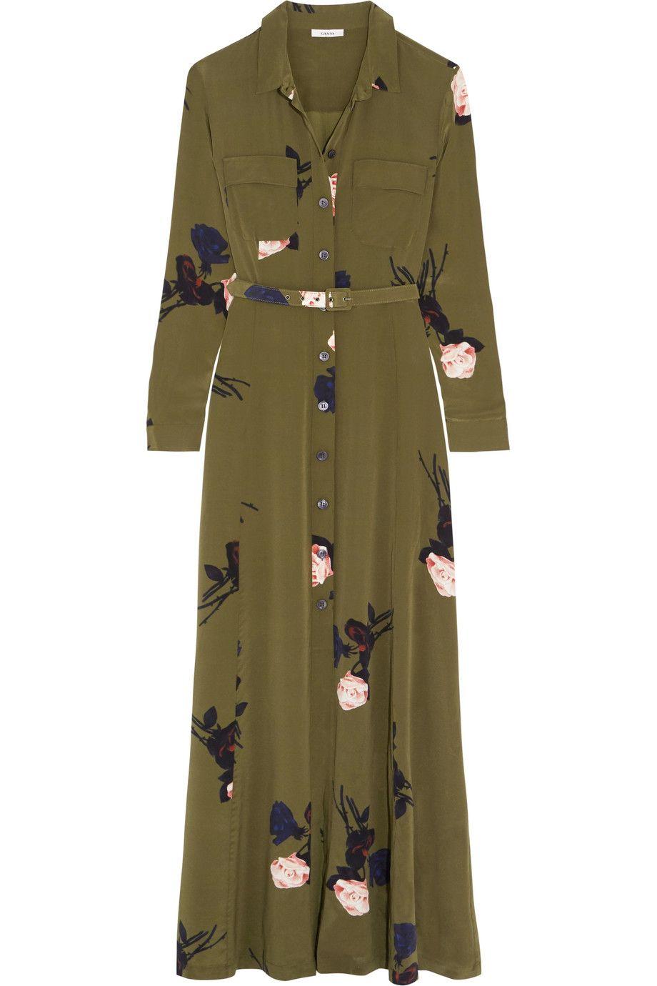 7cd8a5f6 GANNI Floral-print silk crepe de chine maxi dress. #ganni #cloth #dress