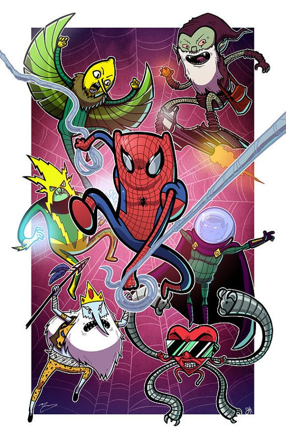 Spider Time (Adventure Time & Spiderman Cross Over) 11x17 Print