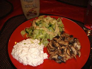 Elegant Salad, Cup Low Fat Cottage Cheese, U0026 Costco Chicken Patty (Sweet  Caramelized Onion Chicken Burgers) With Sauteed Mushrooms On Top.