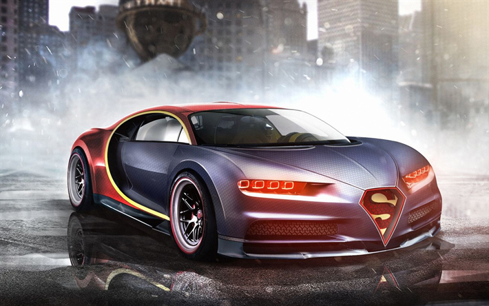 Download Wallpapers Superman Car, 4k, Bugatti Chiron, Art