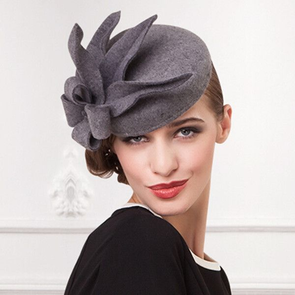 0ee3b0be2e5 Gray flower pillbox hat for women felt fascinator hats cocktail wear ...