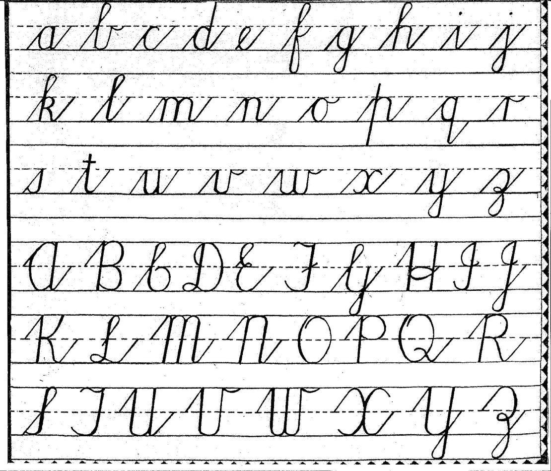 Free Cursive Handwriting Charts