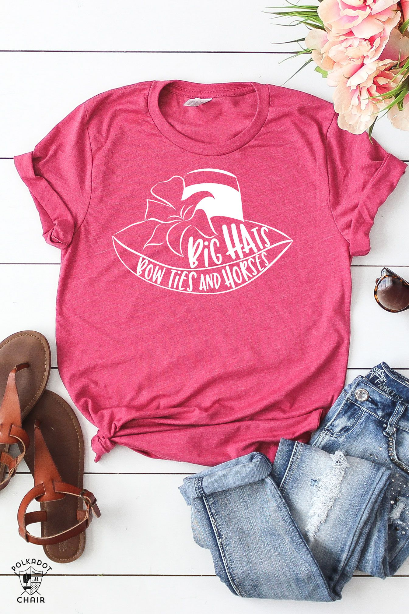 ce072c3b DIY Kentucky Derby T-Shirt; Big Hats Bow Ties and Horses, cute sayings