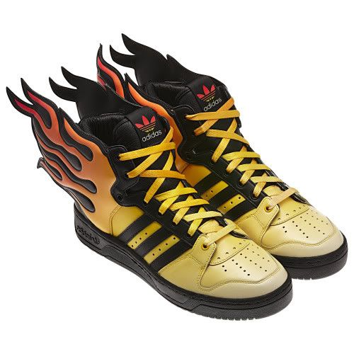 Adidas Jeremy Scott Flames Wings Shoes Rare Fire Yellow