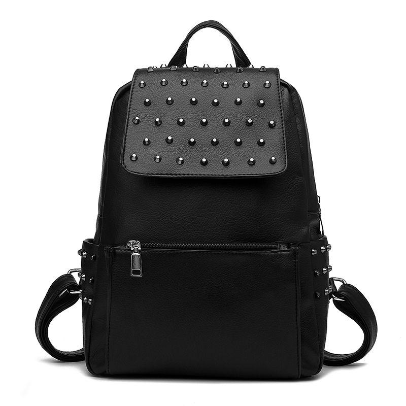 Women Designer Leather Look Studded Embossed Backpack Shoulder Handbag