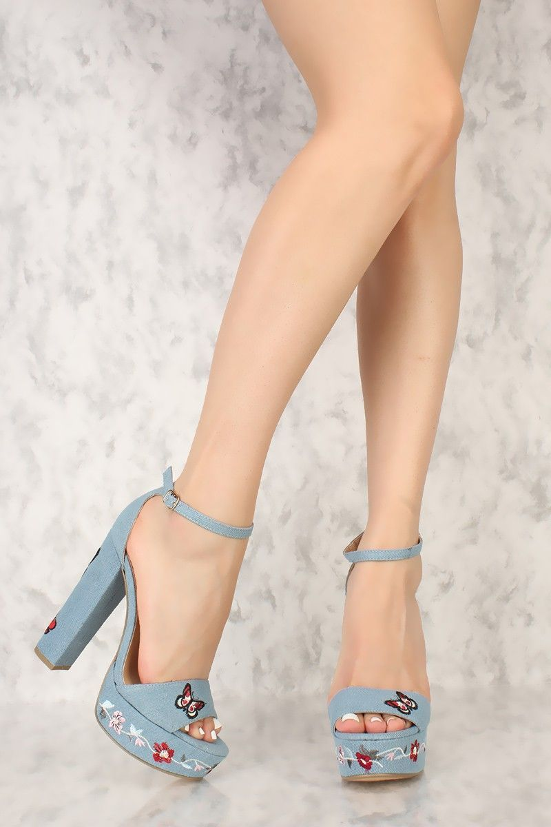 b802e8ea955 Light Blue Embroider Floral Denim Peep Toe Platform Pump Chunky High Heels
