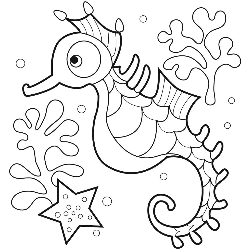Free Printable Seahorse Coloring Pages For Kids Animal