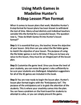Using Math Games In Madeline Hunter S 8 Step Lesson Plan Format