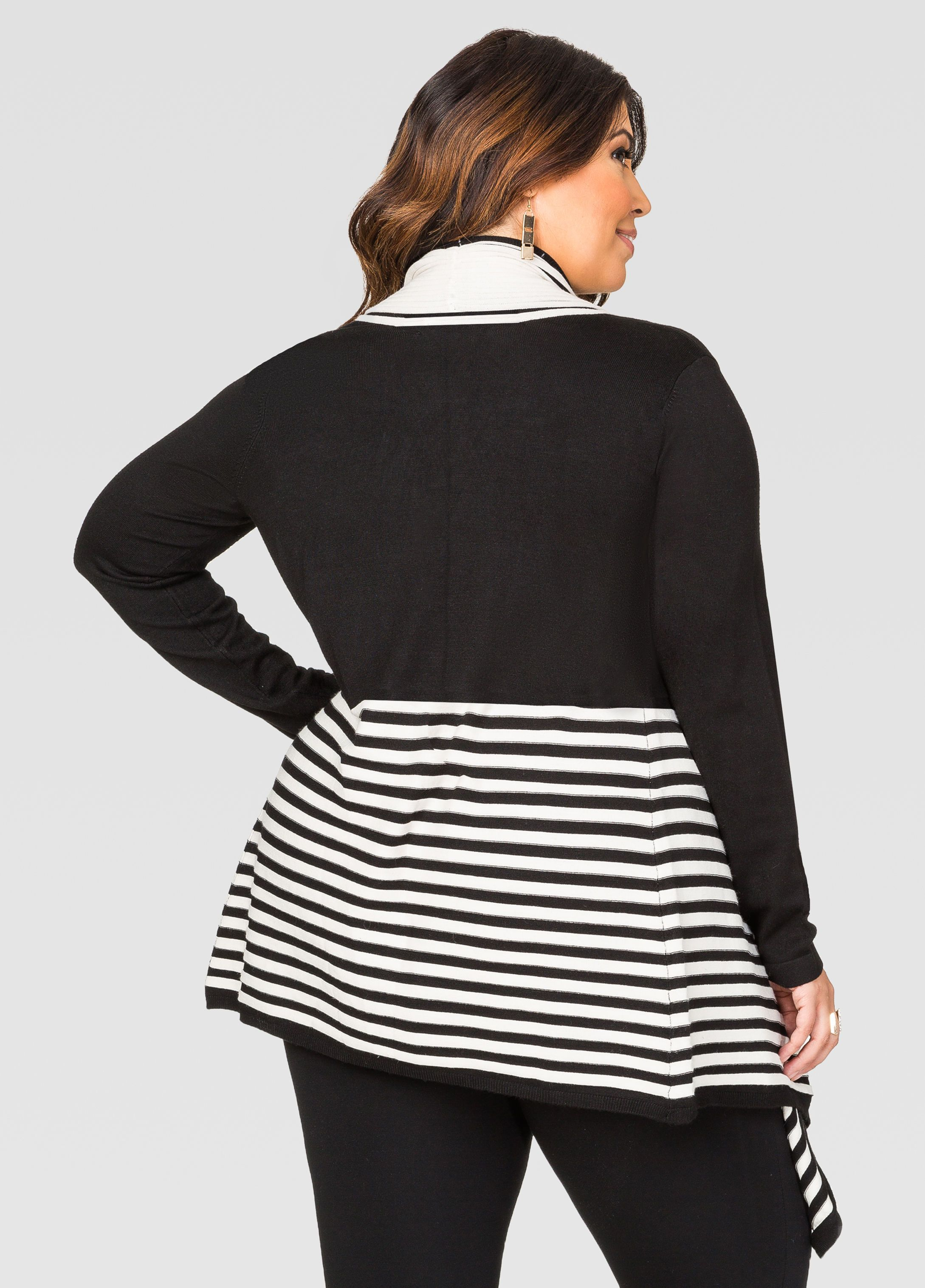 Striped Open Front Cardigan - Ashley Stewart | Jessica Milagros ...