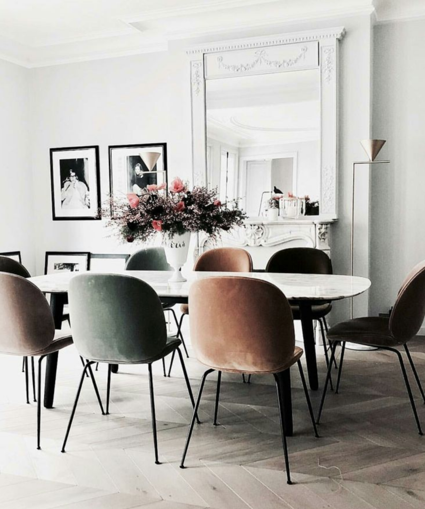 The 15 Most Beautiful Dining Rooms On Pinterest Modern Vintage Style Paris Apartment S Scandinavian Dining Room Beautiful Dining Rooms Dining Room Inspiration