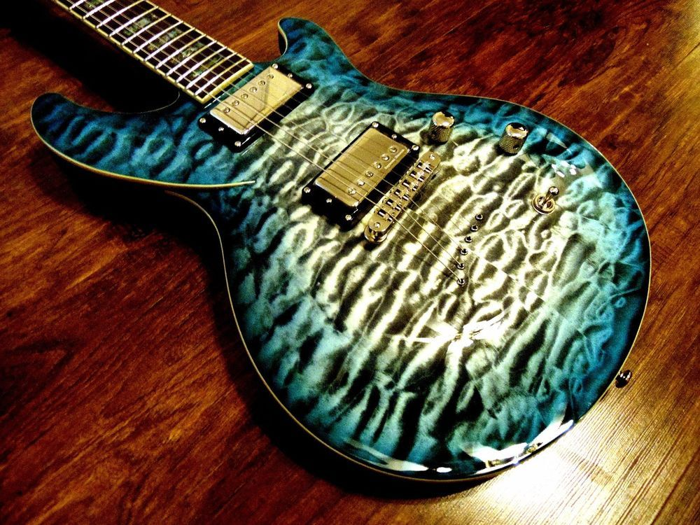 New dbz diamond monarch ex ib ice blue burst quilt top electric ... : quilt top guitar - Adamdwight.com