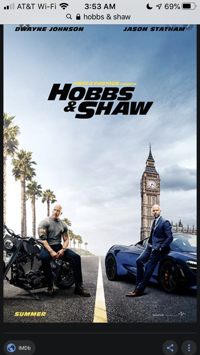Hobbs & Shaw as a team know. in 2020 Scary movie list