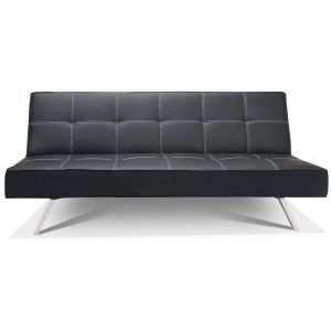 Black Idaho Faux Leather Click Clack Sofa Bed With Storage