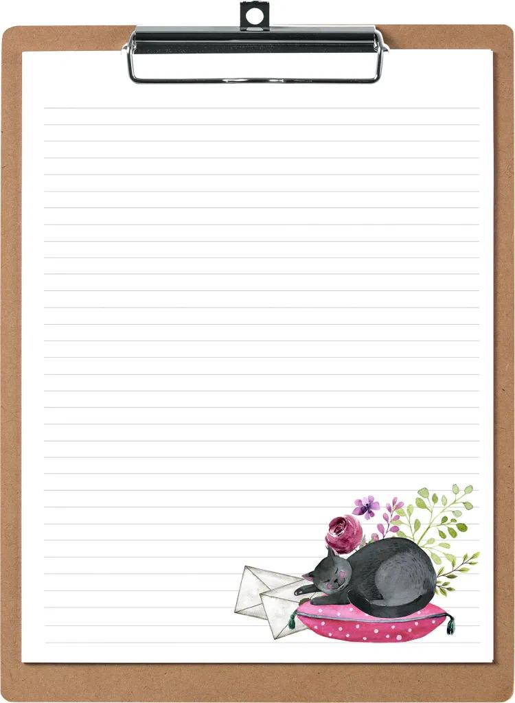 Sleepy Kitty Writing Set Snail Mail Pen Pal Writing Paper